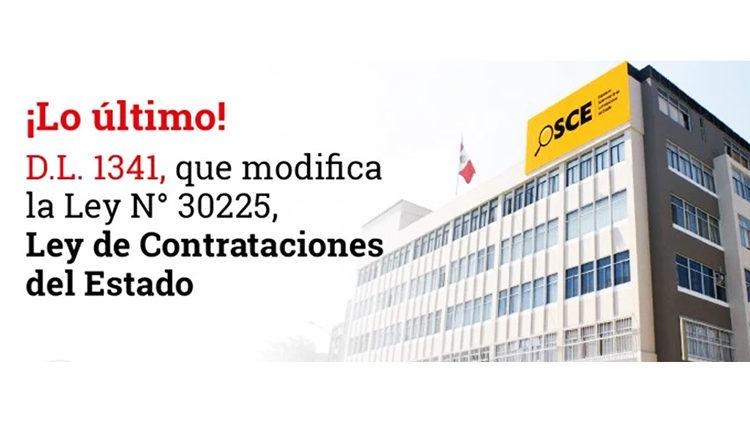 Decreto Legislativo 1341 modifica la Ley de Contrataciones del Estado